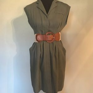 OLIVE DRESS & BELT SIZE 6